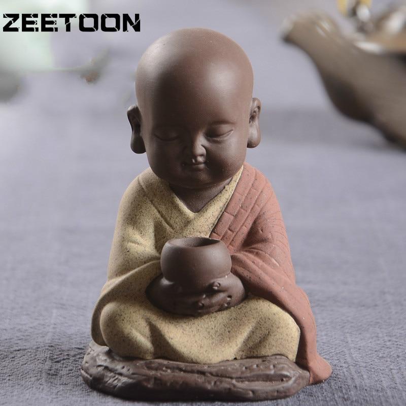 Buda Araba Dekorasyon Yaratıcı Butik Mor Kum Buda Keşiş Çay Hayvan Seramik Ev Dekorasyon Aksesuarları