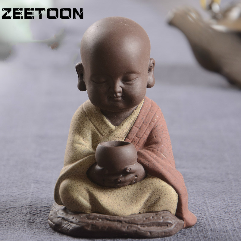 Buddha Car Decoration Creative Boutique Purple Sand Buddha Monk Tea Pet Ceramic Home Decoration Accessories