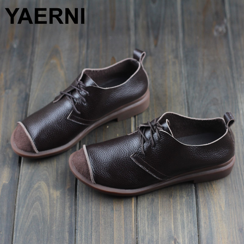 YAERNI Women Shoes Spring/Autumn Genuine Leather Flat Shoes Round toe Lace up Flats Ladies Moccasins 2017 Fashion Footwear women shoes flat genuine leather hand made ladies flat shoes black brown coffee casual lace up flats woman moccasins 568 5