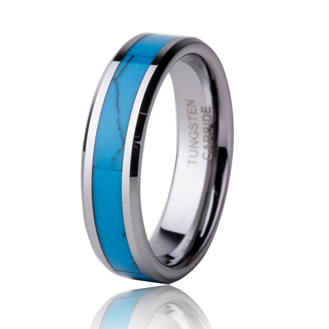 Free Shipping 5mm Turquoise Ring Tungsten Carbide  Men Women's Engagement Wedding Ring Fashion Jewelry For Male Alliance TU054R