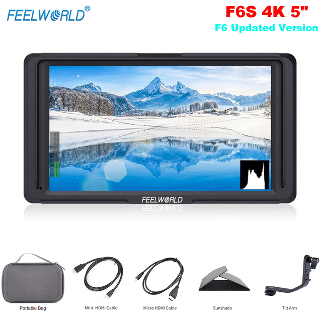 Feelworld F6S 5 Inch On-Camera Field Monitor F6 Updated Version 4K HDMI Input Full HD 1920x1080 IPS for Camera Video Stabilizer