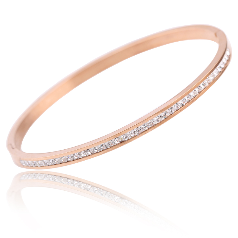 Two crystal rhinestone pave stainless steel opening bangle for women