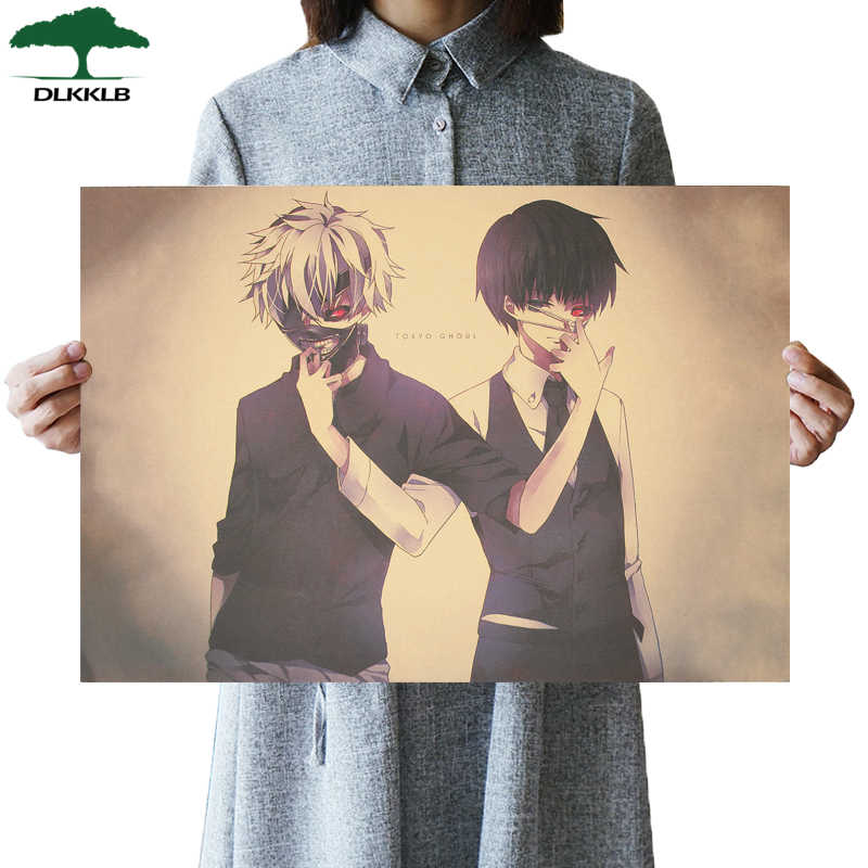 DLKKLB Tokyo Ghoul Classic Animation Movie Poster Vintage Retro Kraft Paper Wall Sticker 51.5x36cm Dorm Room Decoration Painting