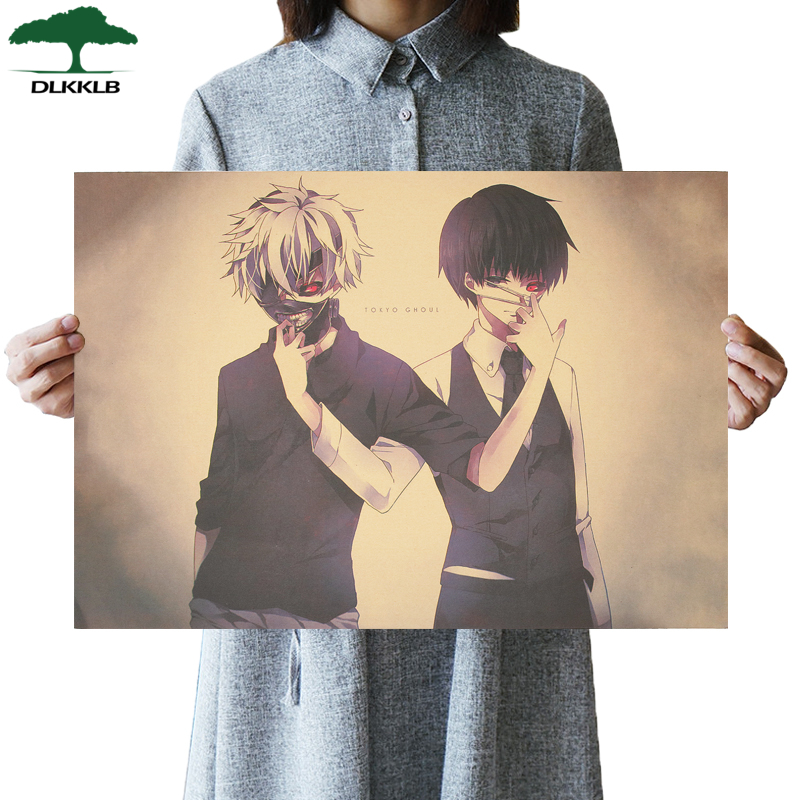 DLKKLB Tokyo Ghoul Classic Animation Movie Poster Vintage Retro Kraft Paper Wall Sticker 51.5x36cm Dorm Room Decoration Painting image