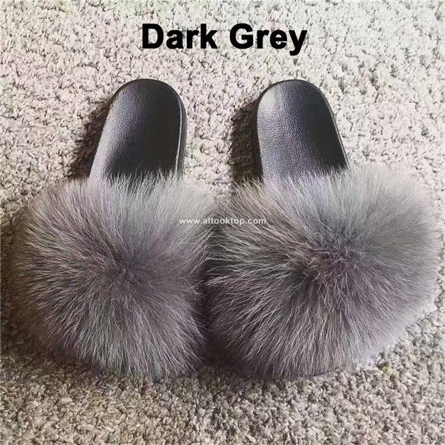 d114c9c37 Summer women fox fur slippers designer fur slides fuzzy slippers flat heel shoes  flip flops furry fluffy plain slides superstar