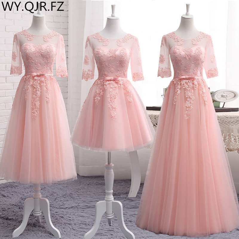 MNZ-5608#Three Styles Of Long Medium Short Pink Appliques 2019 Spring Lace Up Bridesmaid Dresses Wedding Prom Party Toast Dress