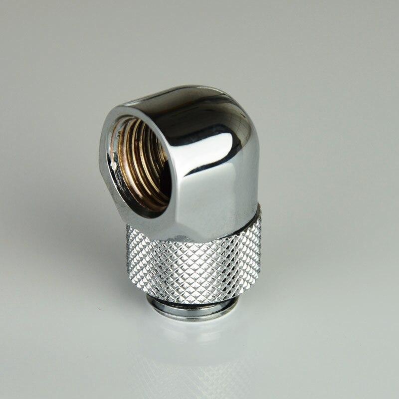 Argent noir G1/4 'filetage 90 degrés adaptateur de raccord rotatif tournant 90 degrés adaptateurs de refroidissement par eau connecteur en métal