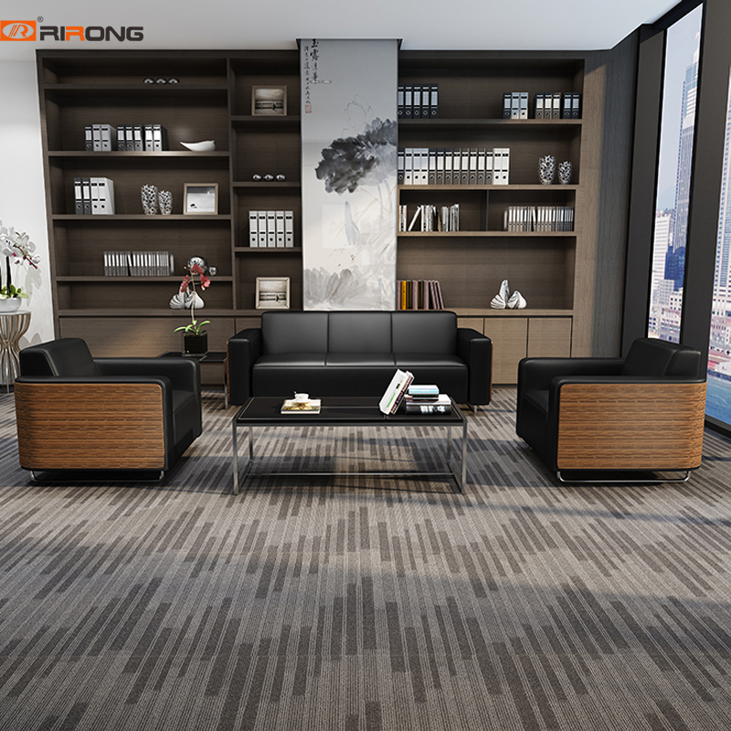 Black Office Living Room Leather With Wood Office Sofa Couch Coffee Table Set