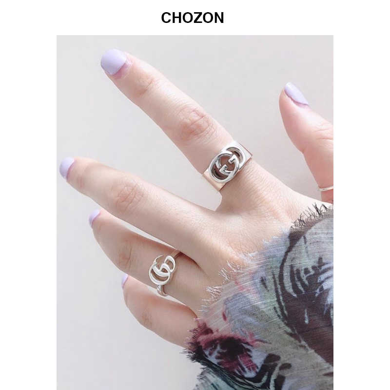 Korean ring 925 Silver finger ring personality fashion jewelry simple design fashion elegant double G for woman index finger