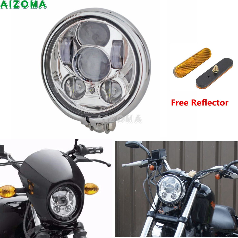 DOT Cafe Racer Projector DRL Headlight 5.75'' LED Glide Front Head Lamp For Harley Davidson Dyna Sportster 48 Bobber Chopper подвеска из серебра слон