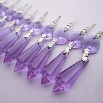 FREE FEDEX/DHL/UPS FAST Delivery--AAA Top Quality 380pcs purple 38*14mm Chandelier Glass Crystal Prism Beads Holiday Ornaments