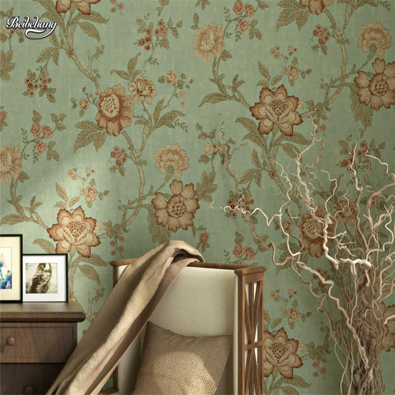 beibehang American Vintage Country Nonwovens Wallpaper Simple Wedding Room Pastoral Bedroom Living Room TV Background Wallpaper beibehang nonwovens healthy fashion
