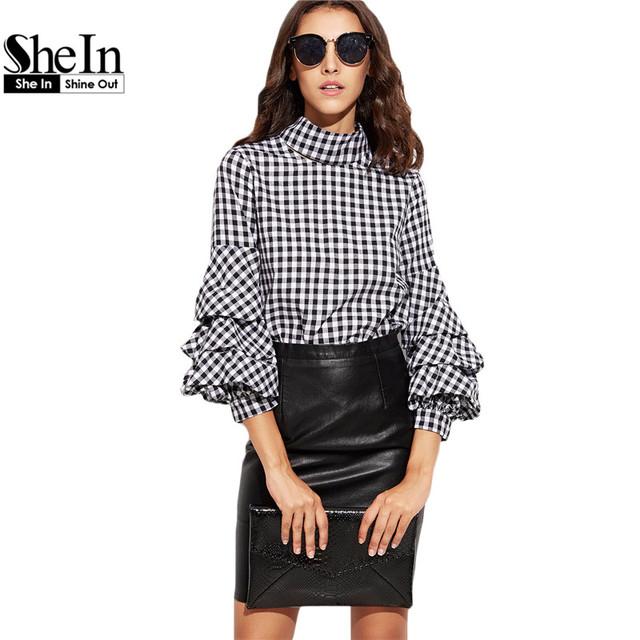 Shein escritório senhoras outono mulheres blusas e tops gingham preto recorte de gola alta billow manga comprimento de três quartos blusa xadrez