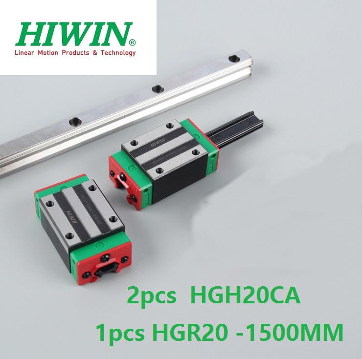 1pcs 100% original Hiwin linear rail guide HGR20 -L 1500mm + 2pcs HGH20CA linear square block for cnc цена