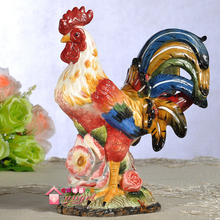 ceramic multicolor creative rooster statue home decor crafts room decoration cock garden ornament porcelain animal figurines