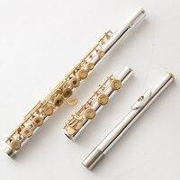 Музыка любитель клуб Япония промежуточных стандартов флейты MFCFL 482 посеребренные флейта позолоченный ключ 17 отверстий закрыты открытое отв