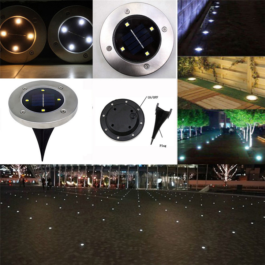 Super 4pcs 4 Led Solar Power Buried Light Under Ground Lamp Outdoor Path Garden Decking White&yellow Dropshipping 0403 Superior Performance Lights & Lighting