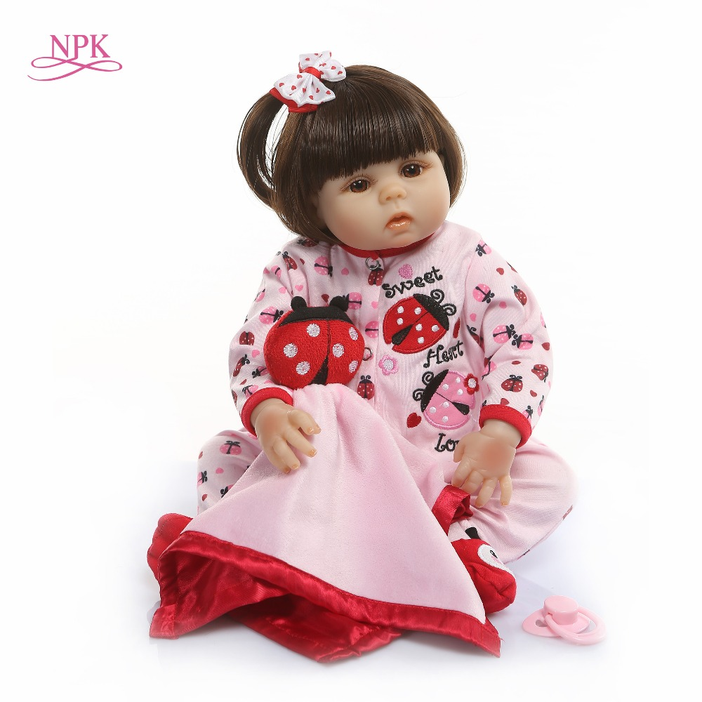 Npk 전체 비닐 실리콘 reborn 아기 인형 48 cm 살아있는 현실적인 boneca bebe 살아있는 진짜 소녀 인형 reborn 생일 크리스마스-에서인형부터 완구 & 취미 의  그룹 1