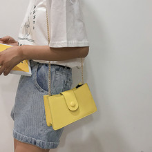 Korean Style Joker One Shoulder Bag Mini Coin Purse Pu Zipper Lock Chain Small Square Bag Messenger Bolsas Yellow Crossbody Bag