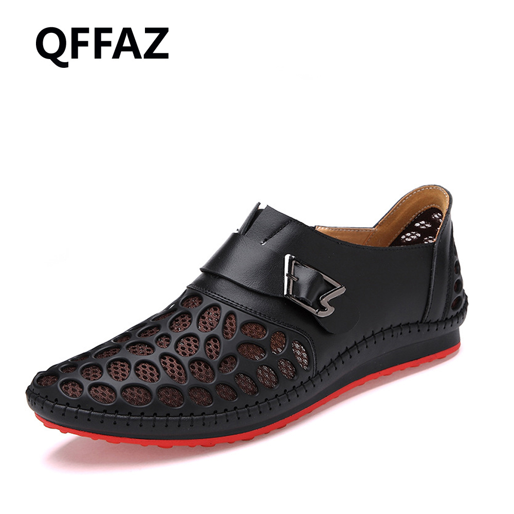 QFFAZ 2018 Men Shoes Casual Genuine Leather Shoes Mens Luxury Brand Summer Leisure Breathing Flats For Men Zapatos Hombre hot sale mens italian style flat shoes genuine leather handmade men casual flats top quality oxford shoes men leather shoes