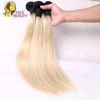 Face Beauty 1B 613 Ombre Blonde Brazilian Straight Hair Bundles 2 Tone Dark Roots Platinum Remy Human Hair Weave 1/3/4 Bundles