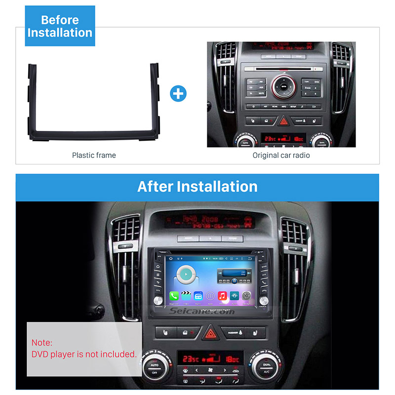 Seicane Double Din Car Radio Fascia DVD Gps Decorative Frame for 2010-2012 KIA CEED Dash Mount Surround Panel Trim Kit fitting