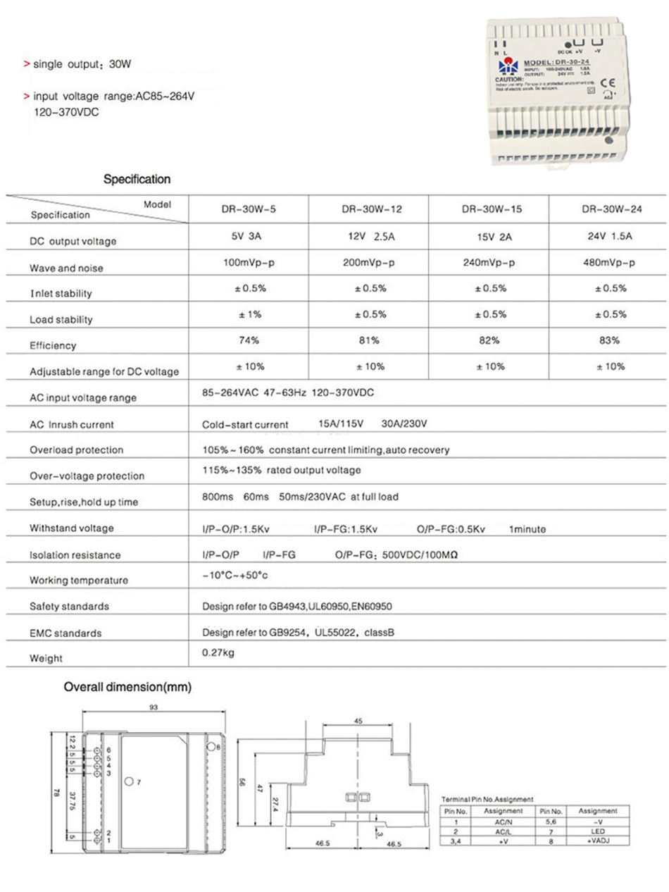 Dr 30 Din Rail Power Supply 30w 5v 3aswitching Ac 110v 24v6a Low Consumption Regulated Circuit 1 X 3a