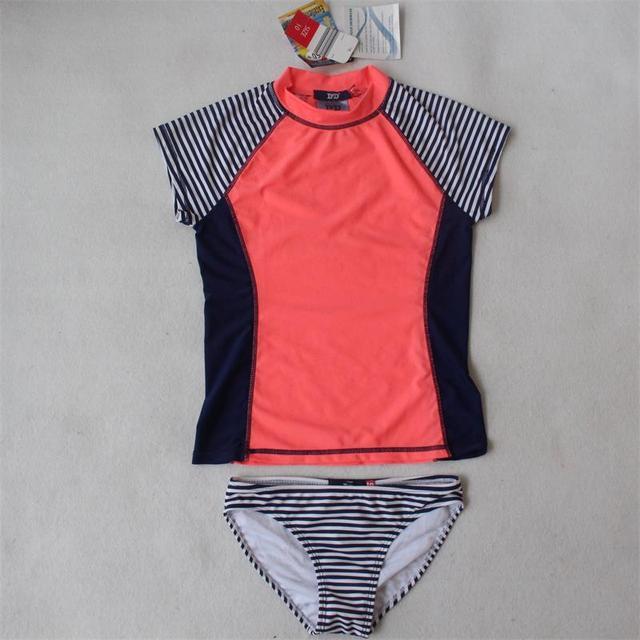 2ed7a4866932f (7-14Y) girls rash guard kids UV-Schutz bekleidungs set girls toddler  swimsuits surf sunsafe roupas de protecao solar infantil
