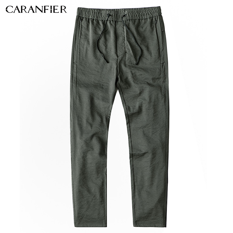 CARANFIER New Mens Pant Casual Business Stretch Elastic Fabric Slim Straight Pant Male Working Pants Clothes Green Black Gray