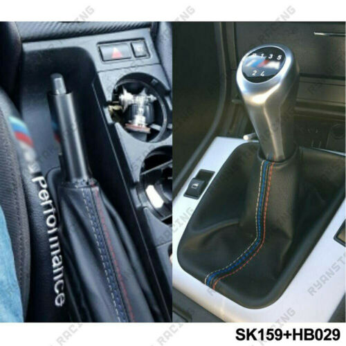 2 Pcs/Set Car Shift Gear Stick Manual Handbrake Gaiter Shift Boot Black Leather Boot Car-Styling For <font><b>BMW</b></font> 3 Series E36 E46 M3 image