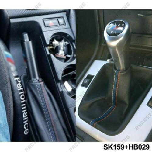 2 Pcs/Set Car Shift Gear Stick Manual Handbrake Gaiter Shift Boot Black Leather Boot Car-Styling For BMW 3 Series E36 E46 M3