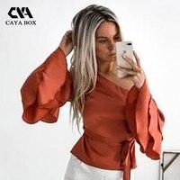 CAYA HỘP mùa thu của phụ nữ tắt vai silk ruffles áo sash