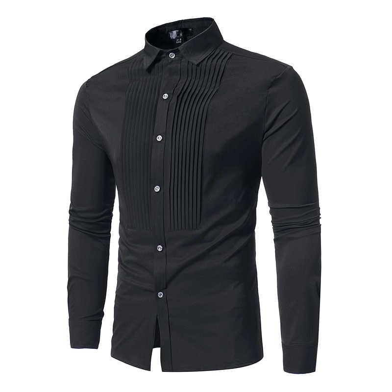 da0ddb3d ... Solid Color Men Shirt Tuxedo Shirts Bridegroom Wedding Shirts Long  Sleeve Slim Fit Casual Mens Dress ...