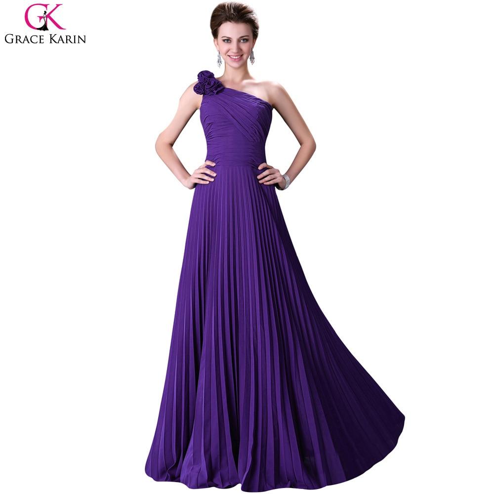 De un hombro vestidos de noche 2017 grace karin gasa verde púrpura ...