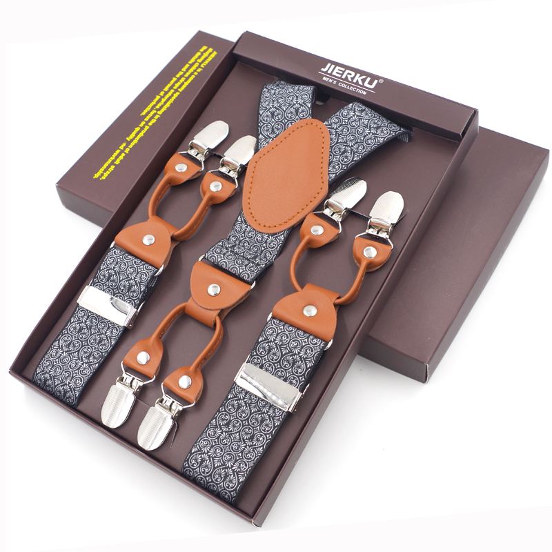 2019 Νέα ανδρικά τιράντες μόδας δέρμα Suspenders 6 κλιπ Suspensorios ρυθμιζόμενο ιμάντα ιμάντα υψηλής ποιότητας Tirantes 3,5 * 120cm