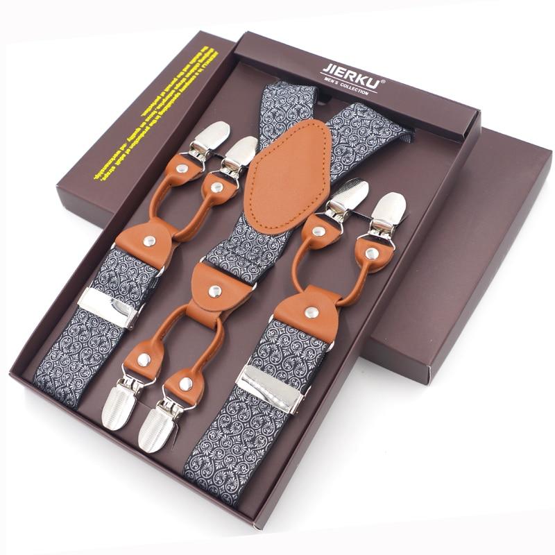 2019 New Men's Braces Fashion Leather Suspenders  6 Clips Suspensorios Adjustable Belt Strap High Quality Tirantes 3.5*120cm