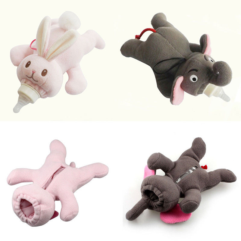 Cute Baby Feeding Bottle Plush Pouch Covers Nursing Keep Warm Holders Case Toys