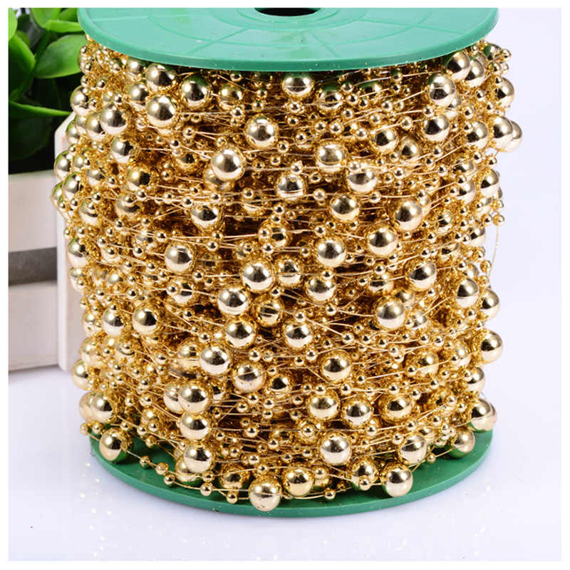 DIY Fishing Line Gold Sliver Plating Artificial Pearl Beads Chain Garland Wedding Decoration festival party marriage ornaments
