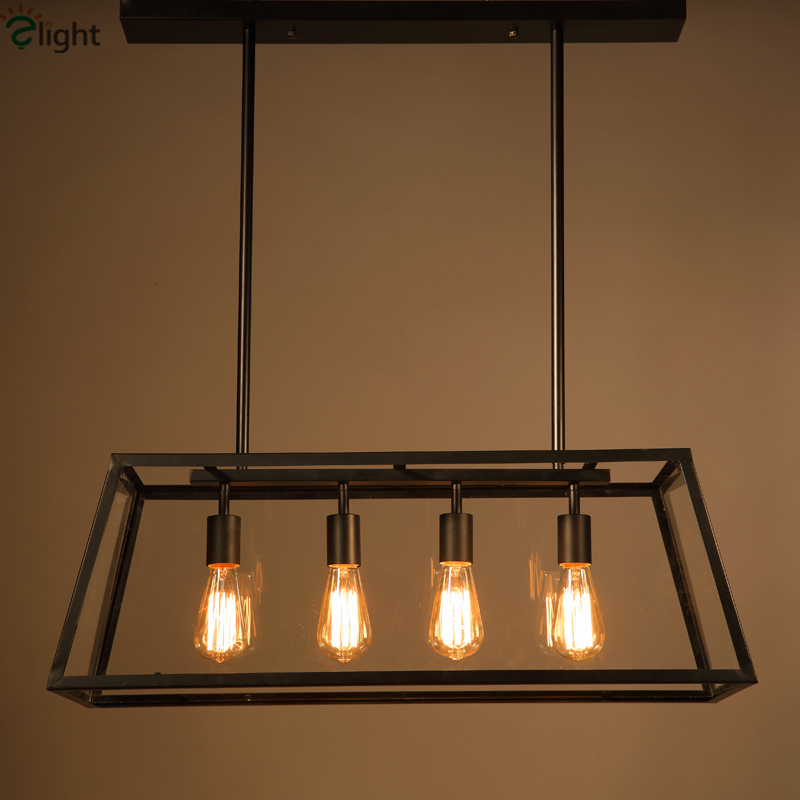 American Vintage Clear Glass Box Pendant Light Europe Industrial Minimalism Painted Iron Led Pendant Lights For Dining Room