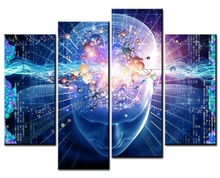 4 Pieces Picture Painting Wall Art Room Decor Print Poster Science fiction Wall Pictures for Living Room Canvas Painting