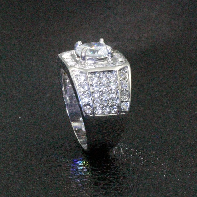 YWOSPX Luxury Full Crystal Big Stone AAA Cubic Zirconia Rings For Men And Women Male Metal Plated Zircon Ring SZ 6-13 Y40 3