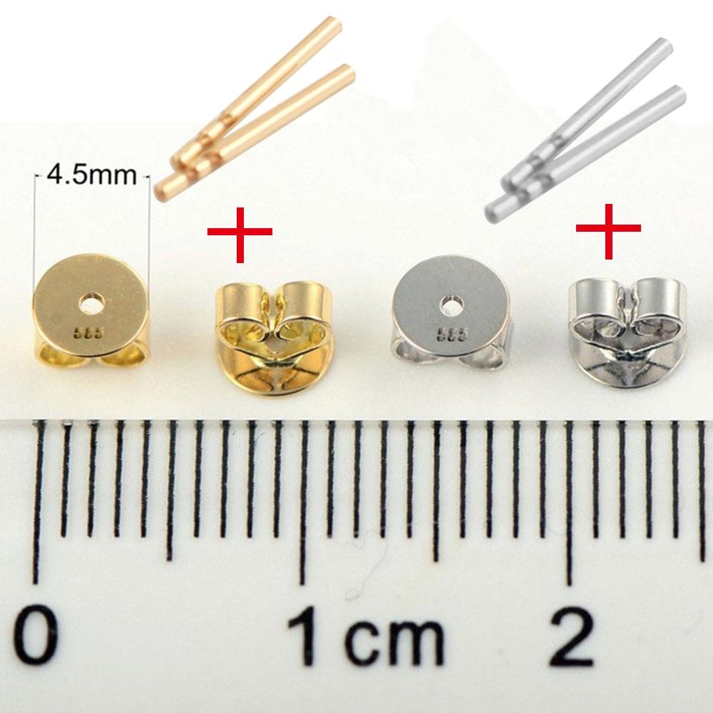 Véritable poteau de boucle d'oreille en or blanc et jaune 14K avec support papillon