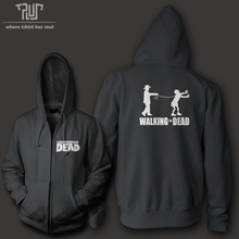 Free shipping walking the dead funny design men unisex zip up hoodie 10.3oz weight organic fleece cotton quality sweatershirt