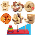 New  Classic IQ 3D Wooden Interlocking Burr Puzzles Wood Hear Lock Hanoi Tower Mind Brain Teaser Game Toy for Adults Children