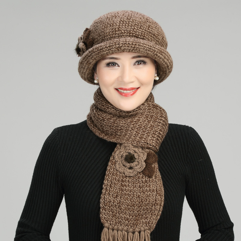 Hand-woven Wool Hat Women Thickened Warm Knitted Cap Mother Christmas Gift Female Winter Lady Elegant Fashion Soft Scarf H7159