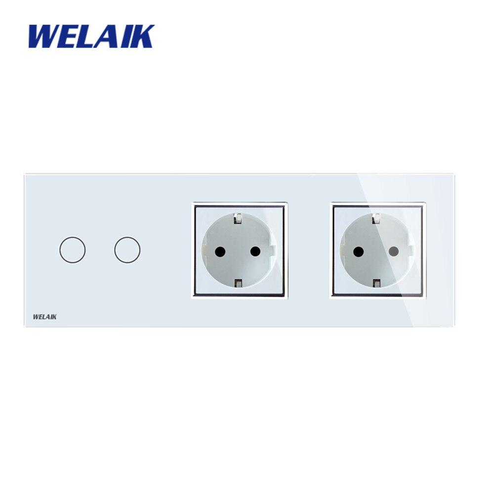 Welaik бренд 3 Рамки Кристалл Стекло Панель настенный выключатель ЕС сенсорный выключатель розетки 2gang1way AC110 ~ 250 В a39218e8ecw /b