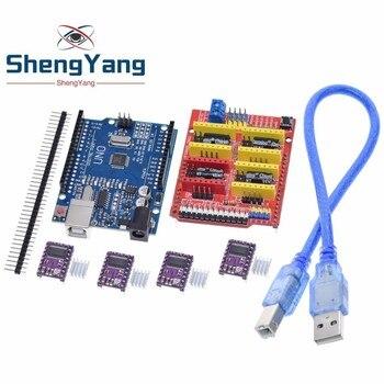 TZT cnc shield V3 máquina de grabado 3D Printe + 4 Uds DRV8825 tarjeta de expansión de controlador para Arduino + UNO R3 con cable USB