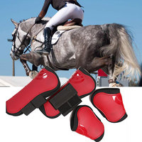 4 PCS Soft PU Leather Horse Riding Equestrian Equipment Horse Legging Protector Horse Riding Equipment Accesories