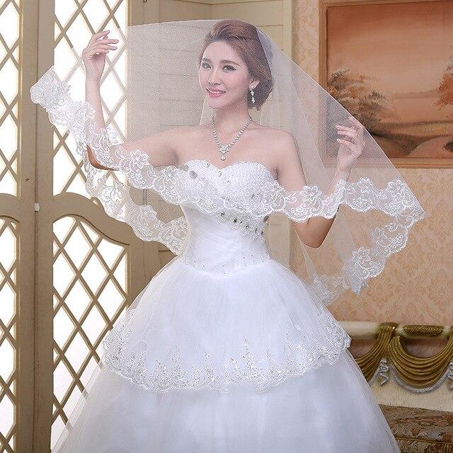 Bride Veils One Layer White Applique Tulle  Meters Veu De Noiva Long Wedding Veils Bridal