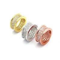 Precio bajo de la alta calidad anillos de acero inoxidable para hombres de las mujeres de lujo de oro rosa cz cz anillo completo y paquete de la cintura pequeña anillo